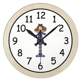 愛らしい田舎の人たちの芸術のぼろきれの天使の人形 ラージ壁時計