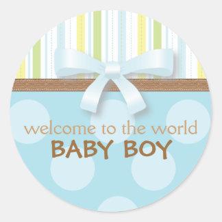 愛らしい男の赤ちゃんは縞で飾ります + 点の青緑wの弓 ラウンドシール