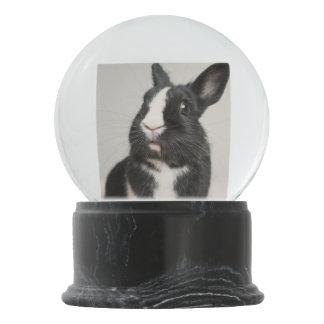 愛らしい白黒バニーウサギ スノーグローブ