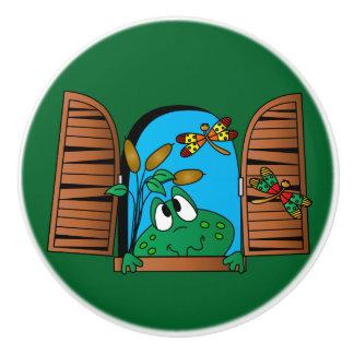 愛らしい緑の窓のカエル セラミックノブ