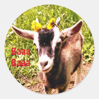 愛らしい赤ん坊のヤギはBaaa Baaaを言います ラウンドシール