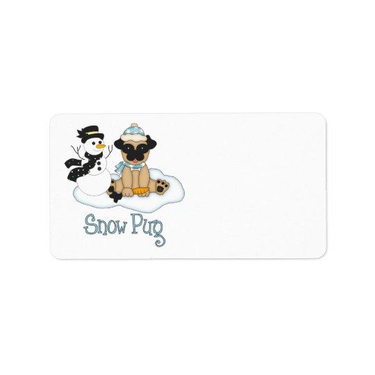 愛らしい雪のパグ-パグおよびSnwoman ラベル