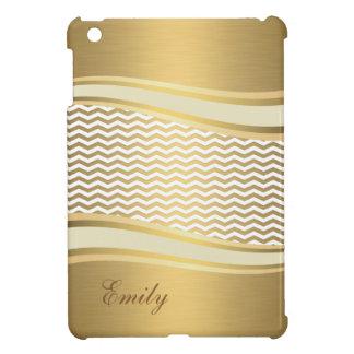 愛らしいattracutveの金贅沢で粋なシェブロン iPad miniカバー