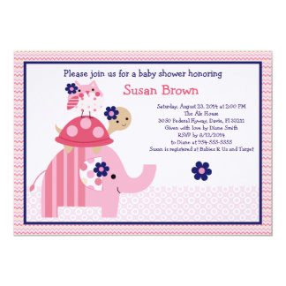 愛らしいEllie/Ella象のベビーシャワーの招待 カード