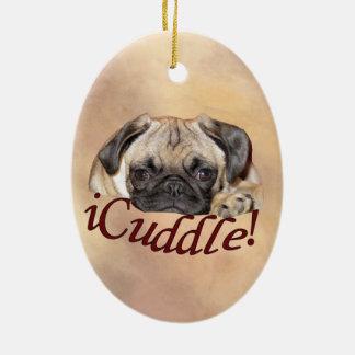 愛らしいiCuddleのパグの子犬 セラミックオーナメント