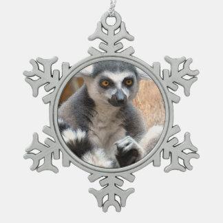 愛らしいLemur スノーフレークピューターオーナメント