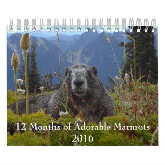 愛らしいMarmots 2016のカレンダーの12か月 カレンダー