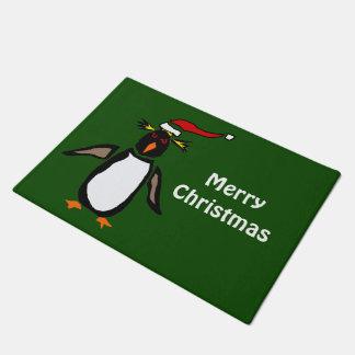 愛らしいRockhopperのペンギンのクリスマスの玄関マット ドアマット