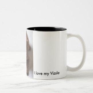 愛らしいVizslaの小犬- I愛私のVizsla ツートーンマグカップ