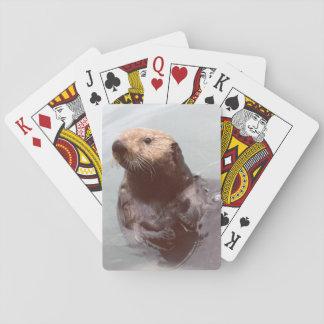 愛らしくかわいいアラスカのラッコの写真のポーカーカード トランプ