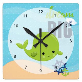 愛らしく航海のなクジラ スクエア壁時計
