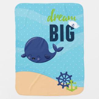 愛らしく航海のなクジラ ベビー ブランケット