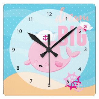 愛らしく航海のなクジラ-女の子 スクエア壁時計