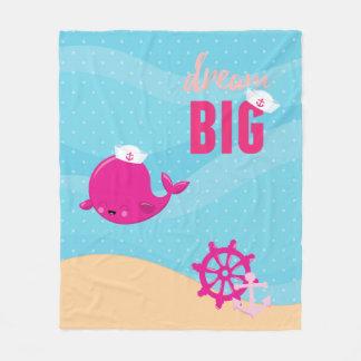 愛らしく航海のなクジラ-女の子 フリースブランケット