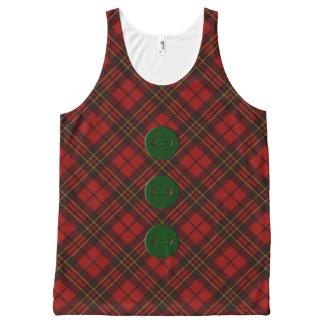 愛らしく赤いクリスマスのタータンチェックおよび緑ボタン オールオーバープリントタンクトップ