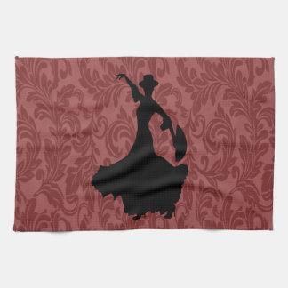 愛らしく陽気なダマスク織のフラメンコのダンサー キッチンタオル
