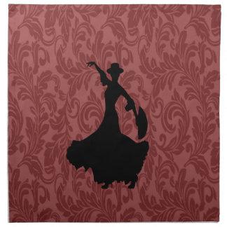 愛らしく陽気なダマスク織のフラメンコのダンサー ナプキンクロス