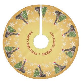愛らしく風変わりなクリスマスのキリン ブラッシュドポリエステルツリースカート