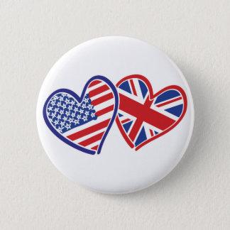 愛を示すハートの米国そしてイギリス 缶バッジ