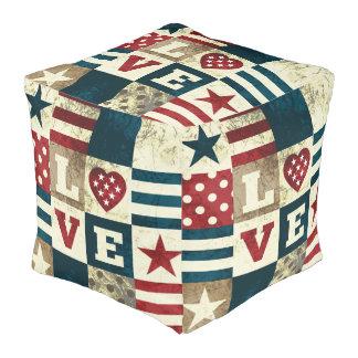 愛アメリカの愛国心が強いアメリカのスタイルの正方形のPouf プーフ