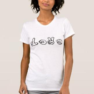 愛アメリカ手話の落書き Tシャツ