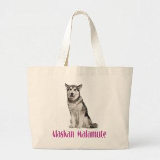 愛アラスカンマラミュートの小犬のトートバック ラージトートバッグ