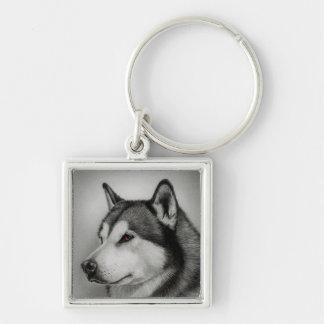 愛アラスカンマラミュートの小犬Keychain キーホルダー