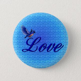 愛エレガントなブルーバードボタン 5.7CM 丸型バッジ