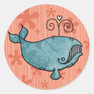 愛クジラのステッカー ラウンドシール