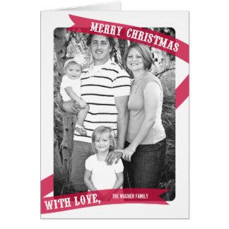 愛クリスマスの写真カードと包まれた グリーティングカード