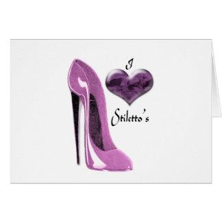 愛クワのピンクの小剣の靴およびハート カード
