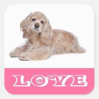 愛コッカースパニエルの子犬のピンク犬のステッカー スクエアシール