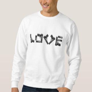 愛コレクション-黒及び白 + 影-汗 スウェットシャツ