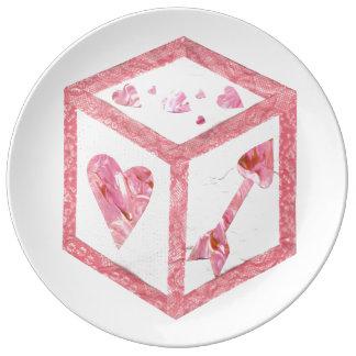 愛サイコロの磁器皿 磁器プレート