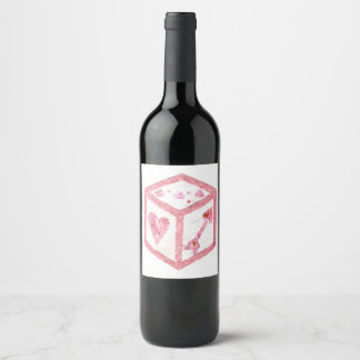 愛サイコロ背景のワインのラベル無し ワインラベル