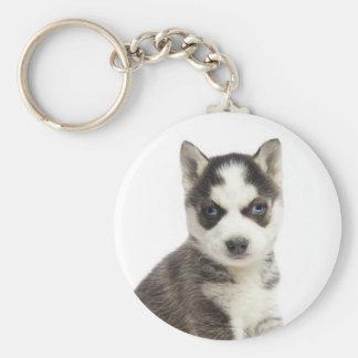 愛シベリアンハスキーの小犬Keychain キーホルダー
