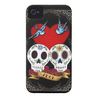 愛スカルのブラックベリーのはっきりしたな穹窖の箱 Case-Mate iPhone 4 ケース