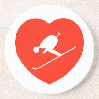 愛スキー赤いハートのコースター コースター