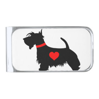 愛スコッチテリア犬のお金クリップ シルバー マネークリップ