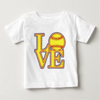 愛ソフトボールのステッチ ベビーTシャツ