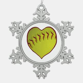愛ソフトボール ピューター製スノーフレークオーナメント