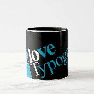愛タイポグラフィのマグ ツートーンマグカップ