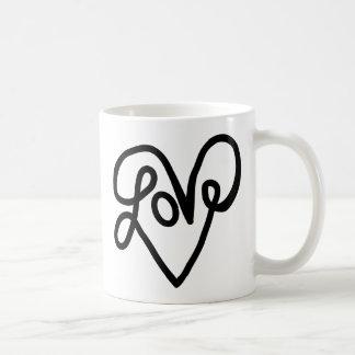 愛タイポグラフィの文字の芸術 コーヒーマグカップ
