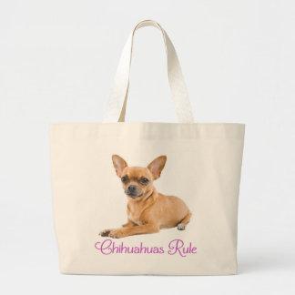 愛チワワの小犬のキャンバスのトートバック ラージトートバッグ