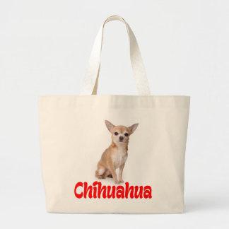 愛チワワの小犬のトートバック ラージトートバッグ