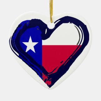 愛テキサス州-ハートの旗 セラミックオーナメント