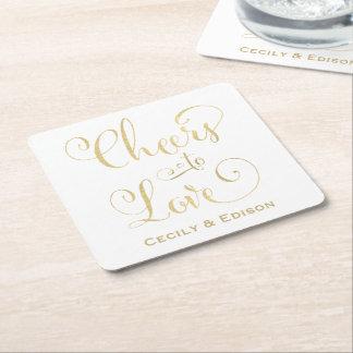 愛デザインへのモノグラムの結婚式のコースター|の応援 スクエアペーパーコースター