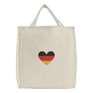 """愛ドイツ""""ハートの旗""""の刺繍されたバッグ 刺繍入りトートバッグ"""