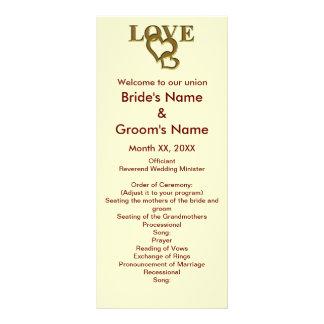 愛ハートおよび赤いバラの結婚式の棚カード ラックカード