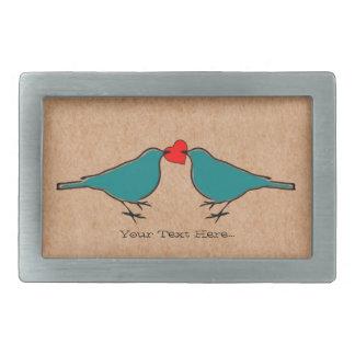 愛ハートおよび鳥のバレンタイン 長方形ベルトバックル